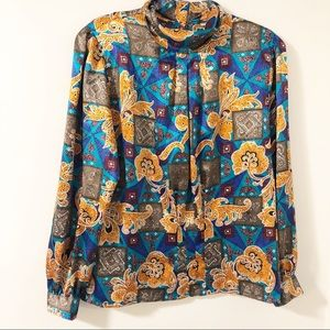 Vintage Bold Paisley High Neck Blouse